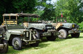 Antique military cars exhibited vehicles Stock Photo