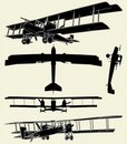 Antique Military Propeller Biplanes Vector 01 Stock Photography