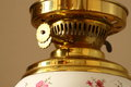 Antique oil lamp c close up photograph of an with decoration Stock Photo