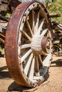 Antique old west wooden wagon wheel Royalty Free Stock Photo