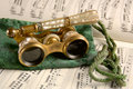 Antique Opera Glasses on Sheet Music Royalty Free Stock Photo