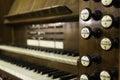 Antique organ manual stops wood Royalty Free Stock Photo