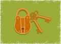 Antique padlock and key Royalty Free Stock Photo
