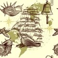 Antique pattern with ship shells and map tripping theme vector seamless wallpaper design old fashioned Stock Photo
