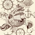 Antique pattern with ship, shells and map, tripping theme Royalty Free Stock Photo