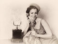 Antique phone call stunning vintage s woman talking on an telephone Stock Photos
