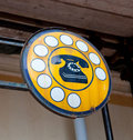 Antique phone sign Royalty Free Stock Photo