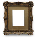 Antique picture frame with clipping path golden isolated on white background Stock Photo