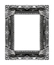 Antique picture gray frame isolated on black background, clipping path Royalty Free Stock Photo