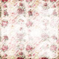 Antique pink and red shabby chic rose repeat pattern wallpaper faded seamless with script text in the background Royalty Free Stock Images