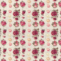 Antique pink and red shabby chic rose repeat pattern wallpaper seamless with script text in the background Stock Image