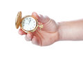 Antique pocket watch in his hand man close up Stock Images
