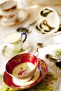 Antique porcelain tea cups Royalty Free Stock Images