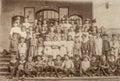 Antique portrait of school classmates. Children and teachers Royalty Free Stock Photo