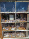 Antique purple sun glass display a of found at castle dome city an old west mining ghost town just north of yuma arizona open to Stock Images