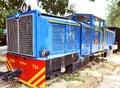 Antique rail engine, wheel, coache, saloon Royalty Free Stock Photo