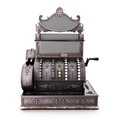 Antique retro cash register  on a white background. Royalty Free Stock Photo