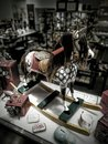 Antique rocking horse in shop window Royalty Free Stock Photo