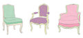 Antique rococo chairs stickers Royalty Free Stock Image
