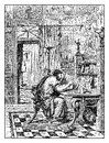 Antique Rome library, vintage engraving Royalty Free Stock Photo