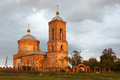 Antique Russian orthodox cathedral. Autumn evening before sunset. Royalty Free Stock Photo