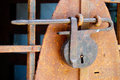 Antique rusted padlock Royalty Free Stock Photo