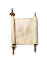 Antique scroll roll of blank manuscript over white Royalty Free Stock Photo