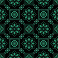 Antique seamless green background octagon square frame Royalty Free Stock Photo