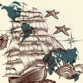 Antique ship shells and map tripping theme vector background design with old fashioned Stock Photo