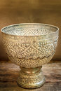 Antique silver bowl vintage on wood background Royalty Free Stock Image