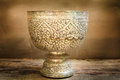 Antique silver bowl vintage on wood background Royalty Free Stock Photography