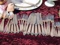 Antique silverware cutlery Royalty Free Stock Images