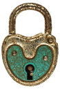 Antique green steel padlock isolated on white Royalty Free Stock Photo