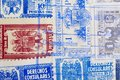 Antique spanish stamps with postmarks. Vintage historic philately. Postal. Hobby Royalty Free Stock Photo