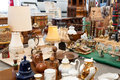 Antique stuff for sale in a flea market Royalty Free Stock Photo