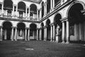 Antique style courtyard in the monuments and columns vintage background of brera gallery milan italy Stock Images