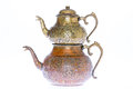 Antique style engraved copper Turkish teapot Royalty Free Stock Photo
