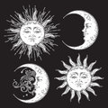 Antique style hand drawn art sun and crescent moon set. Boho chic design vector white isolated on black background