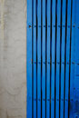 Antique style steel door color blue Royalty Free Stock Photo
