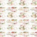 Antique teacup repeat seamless pattern