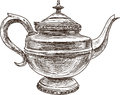 Antique teapot vector drawing of the old in oriental style Royalty Free Stock Image