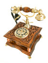 Antique telephone isolated over white Royalty Free Stock Photo