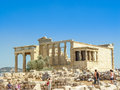 The Antique temple of Caryatid marble columns of the Erechtheion Royalty Free Stock Photo