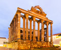 Antique temple of Diana in dawn. Merida Royalty Free Stock Photo