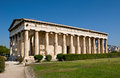 The antique temple of hephaestus is well preserved building with doric colonnade located on agoraios kolonos hill in greek agora Royalty Free Stock Photos