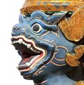 Antique Thai blue face monkey statue Stock Photography