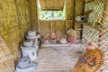 Antique Thai style kitchen with a lot of earthenware at bamboo cottage Royalty Free Stock Image