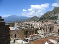 Antique theatre, taormina, etna Royalty Free Stock Photos