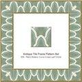 Antique tile frame pattern set Retro Botanic Curve Cross Leaf Ch