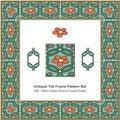 Antique tile frame pattern set Retro Green Round Cross Flower Royalty Free Stock Photo